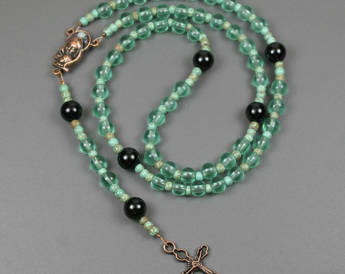 CLEARANCE SALE - Small turquoise green bead, black onyx, and antiqued copper rosary in the Roman Catholic style