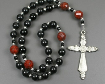 Anglican rosary in obsidian and poppy jasper with an antiqued pewter cross, obsidian rosary, black rosary, stone rosary