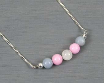 Transgender flag stone bead necklace on silver plated curb chain