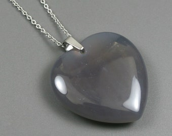 Smoky quartz heart pendant on stainless steel chain, stone heart pendant