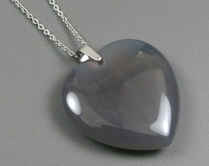 Smoky quartz heart pendant on stainless steel chain