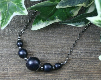 Black wood and gunmetal choker necklace