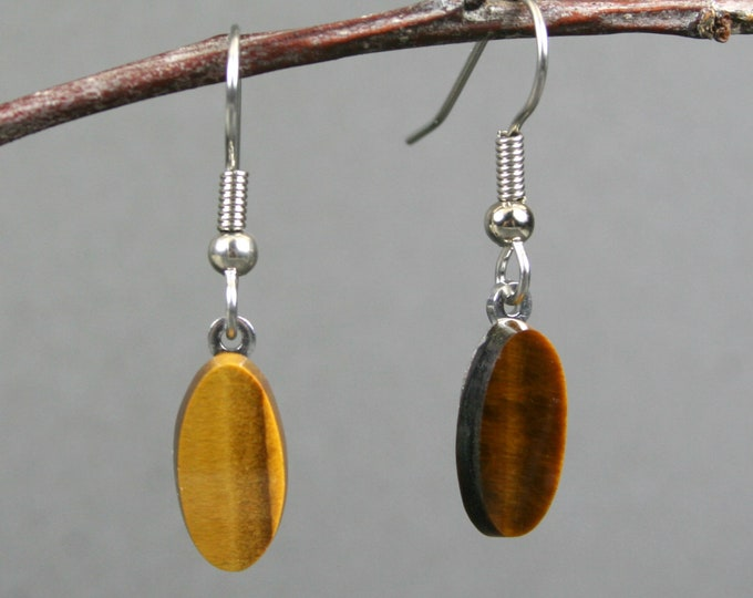 Tiger eye earrings on stainless steel ear wires
