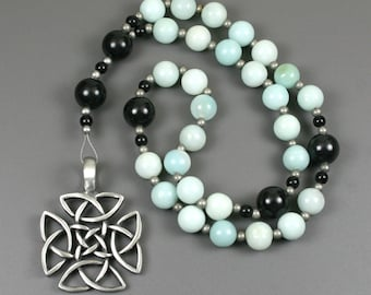 Anglican rosary in amazonite and obsidian with an antiqued pewter square-shaped Celtic cross, amazonite rosary, Protestant rosary