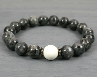 Blue labradorite stacking stretch bracelet with white howlite stone accent