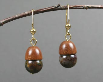 Pietersite and wood acorn earrings on gold plated ear wires