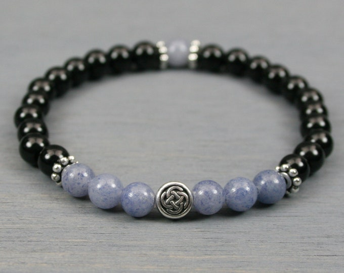 Blue aventurine and obsidian stacking stretch bracelet with a Celtic knot focal bead