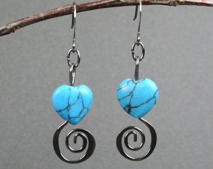 Turquoise magnesite heart earrings with gunmetal spirals