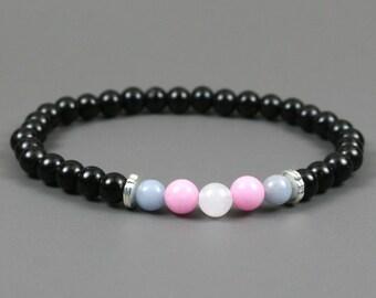 Blue angelite, pink dolomite and snow quartz stretch bracelet with obsidian beads, trans pride bracelet, trans bracelet, pride jewelry
