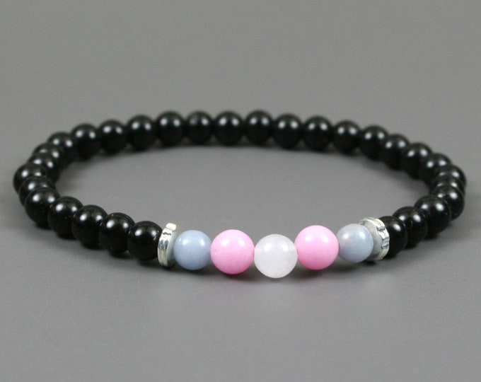 Trans pride stretch bracelet with blue angelite, pink dolomite, snow quartz and obsidian beads