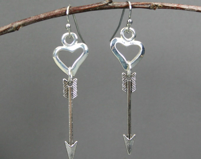 Silver plated open heart and arrow dangle earrings