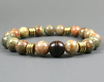 Autumn jasper stacking stretch bracelet with brass spacers and a carved rosewood focal