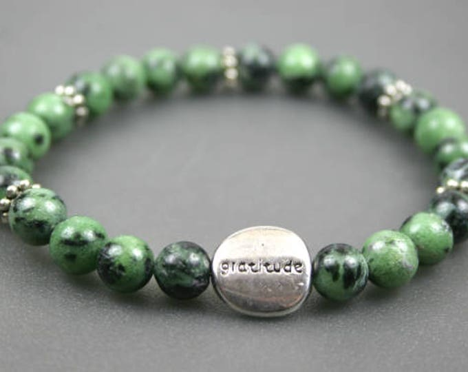 Ruby in zoisite stacking stretch bracelet with pewter gratitude bead