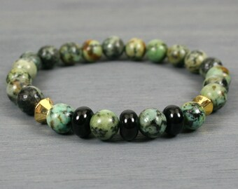 African turquoise jasper stacking stretch bracelet with black onyx and gold plated accents