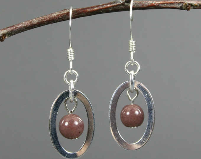 Purple aventurine and silver plated oval dangle earrings