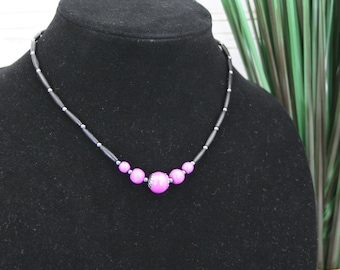Light purple wood and black bone hairpipe necklace with gunmetal accents