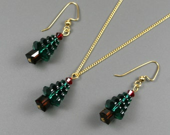 Christmas tree necklace and earrings set made with Swarovski crystals on gold plated curb chain and ear wires, Christmas jewelry