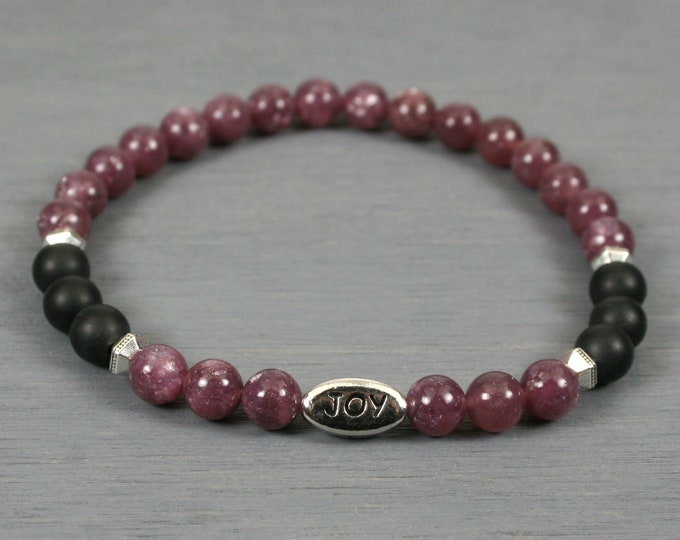 Lepidolite and matte black onyx stacking stretch bracelet with an antiqued rhodium plated pewter JOY bead and antiqued silver plated spacers
