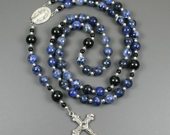 Sodalite, obsidian and silver rosary in the Roman Catholic style with a Miraculous Medal