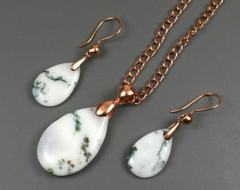 Tree agate teardrop necklace and earring set with copper bails, chain, and ear wires