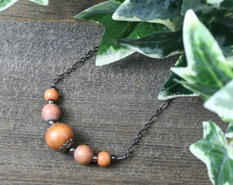 Light brown wood and gunmetal chain necklace, choker necklace