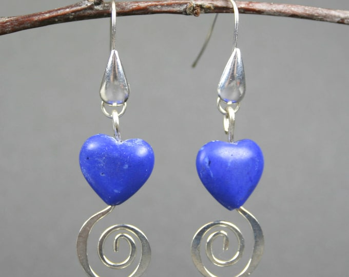 Blue stone heart earrings with silver spirals