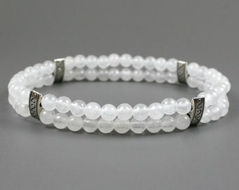 Snow quartz double layer stacking stretch bracelet with silver plated spacers
