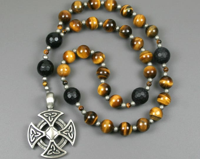 Anglican rosary in tiger eye and black onyx with an antiqued pewter Orthodox cross