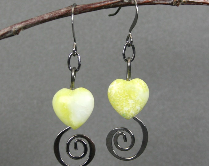 Yellow heart heart earrings with gunmetal spirals