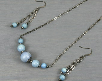 Light blue wood and gunmetal choker necklace and dangle earring set