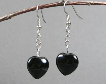 Black onyx heart dangle earrings with stainless steel ear wires