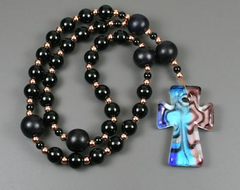Anglican rosary in obsidian, black wood, and copper with a multi-colored lampwork glass cross with copper glitter, obsidian rosary