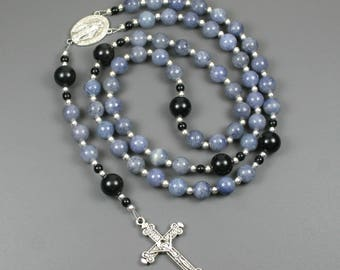 Blue aventurine, obsidian and silver rosary in the Roman Catholic style with a Miraculous Medal