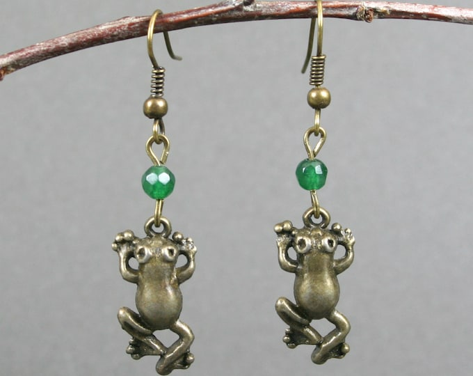 Bronze frog earrings with faceted green agate on bronze ear wires