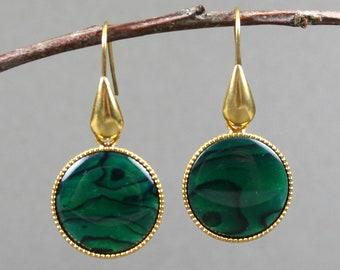 Green paua shell circles in gold plated bezel drop earrings