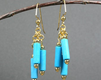 Turquoise blue magnesite dangle earrings with gold plated ear wires, chain, and beads, turquoise blue earrings, gold earrings, blue earrings