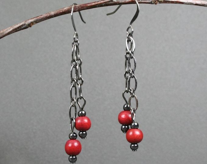 Dark red wood and gunmetal dangle earrings