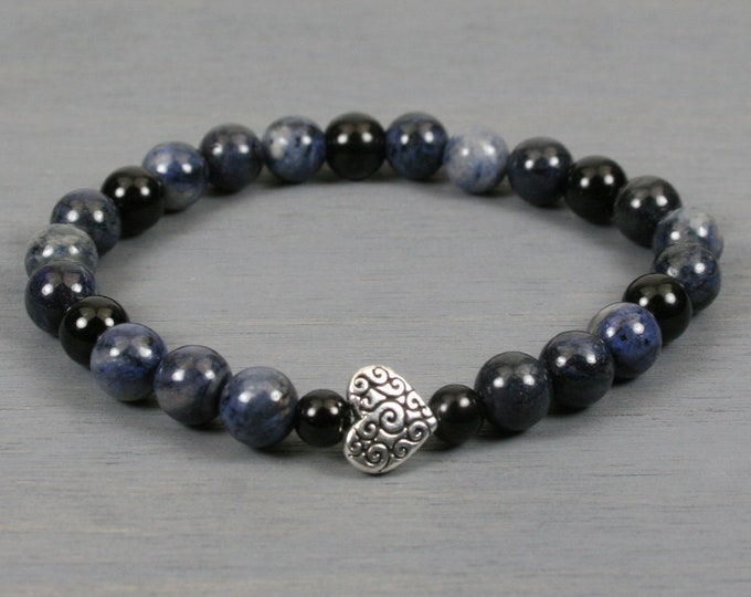 Dumortierite and obsidian stacking stretch bracelet with an antiqued silver plated heart scroll bead
