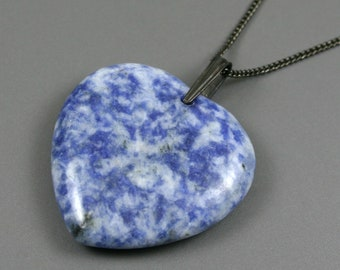 Blue spotted stone heart pendant on gunmetal plated curb chain, stone heart pendant, blue heart pendant, blue stone heart, gunmetal necklace