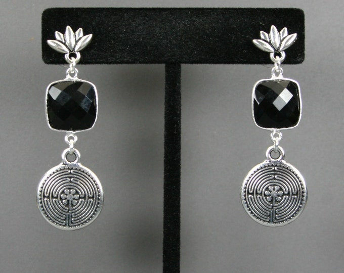 Black onyx and labyrinth drop earrings on antiqued silver plated lotus ear studs