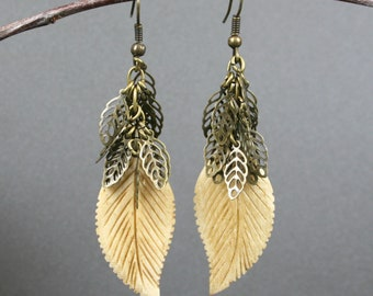 Bone leaf earrings on bronze ear wires with antiqued brass leaves, bone earrings, leaf jewelry, bronze earrings, antiqued brass earrings