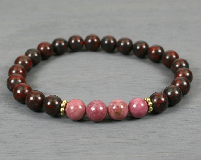 Rhodonite, brecciated jasper, and antiqued gold stacking stretch bracelet