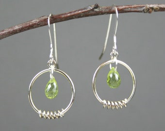 Peridot stone briolettes with sterling silver coil decorated circle dangle earrings, August birthstone