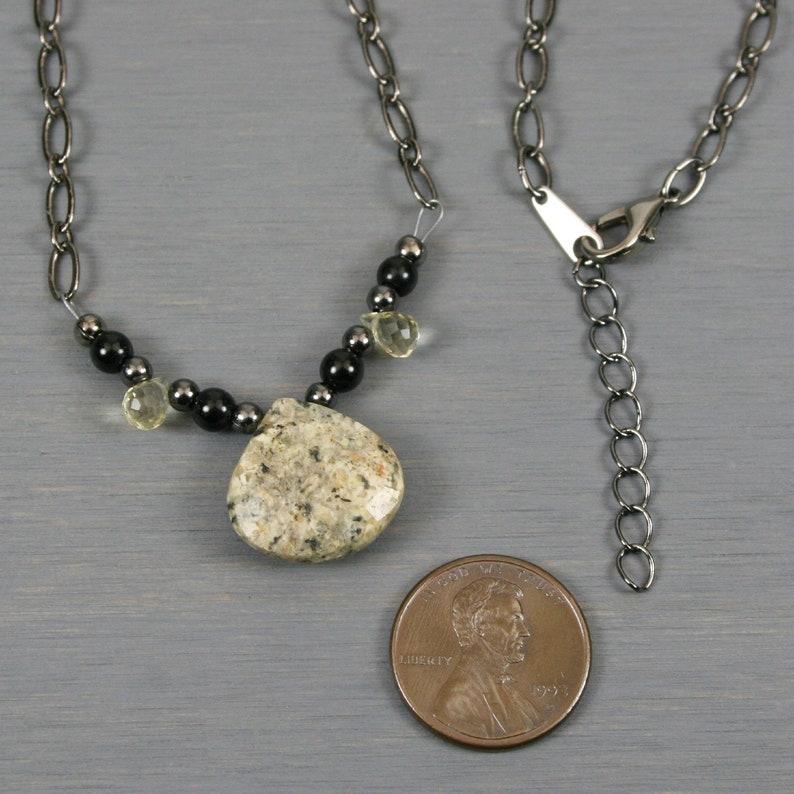 Yellow feldspar teardrop and lemon quartz briolette necklace on gunmetal chain