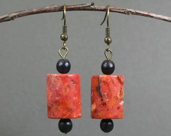 Sponge coral and black wood dangle earrings with antiqued brass earwires
