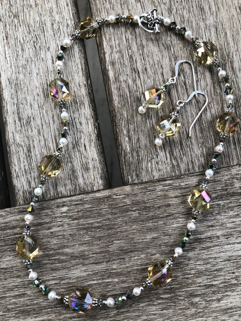Crystal Pearl and Sterling Necklace Set