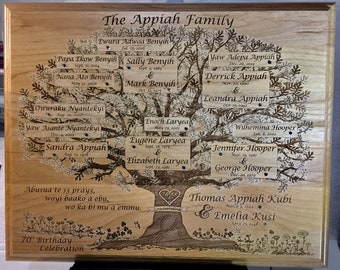 Custom Designed and Laser Engraved Family Tree Plaque WITH Swarovski birthstone Crystals