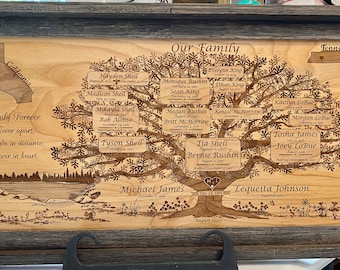 A Family Tree for the Whole Family, Custom Laser Engraved, Large Framed- a Gift to be Treasured for Generations!