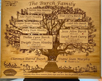 Family Tree Custom Laser Engraved in Solid Wood Plaque - An Heirloom for the Generations!