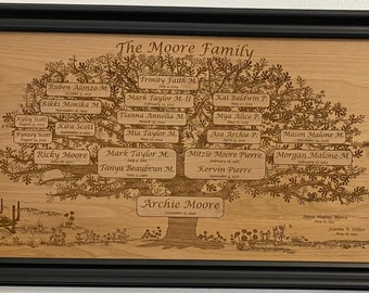 Custom engraved FAMILY TREE Just for YOUR family--it'll be the heirloom to inherit!